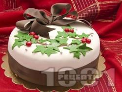 Коледна торта със захарен фондан - снимка на рецептата